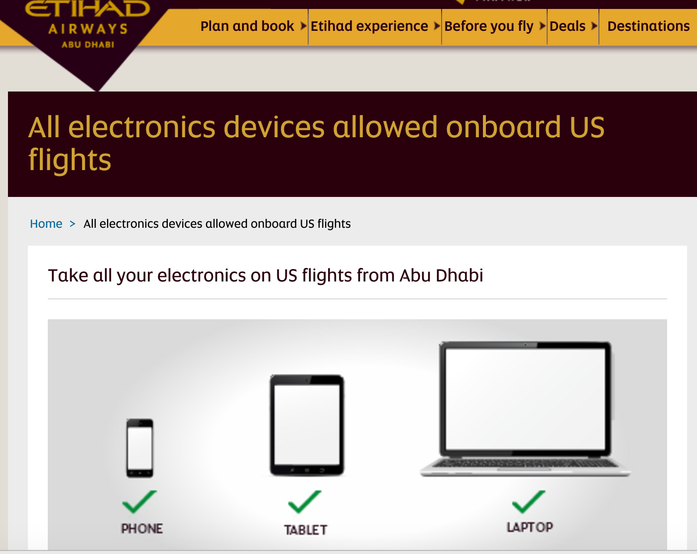 Etihad Airways confirmed the lifting of the electronics ban in a notice on its website
